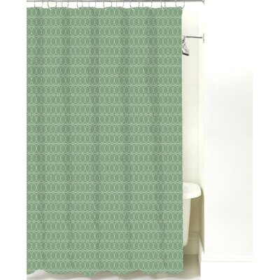 Spiral Graph Cotton Shower Curtain Color: Sea Mist