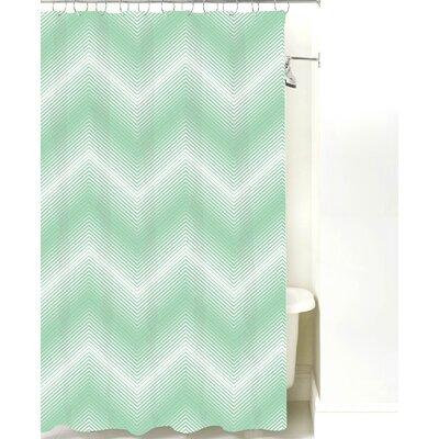 Modern Chevron Cotton Shower Curtain Color: Mint