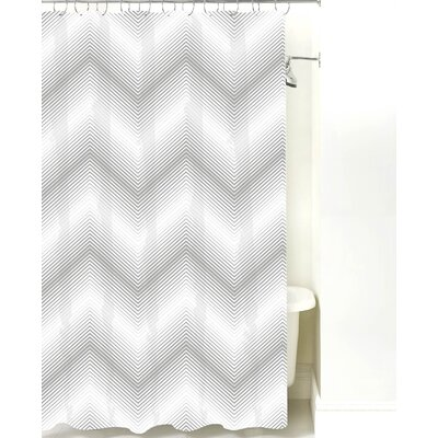 Modern Chevron Cotton Shower Curtain Color: Gray