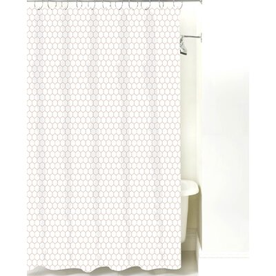 Mosaic Cotton Shower Curtain Color: Light Brown Line