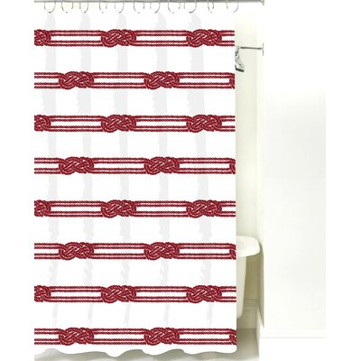 Nautical Ropes Cotton Shower Curtain Color: Red Rope