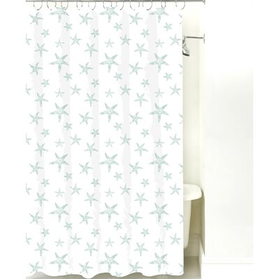 Starfish Cotton Shower Curtain Color: Pale Blue