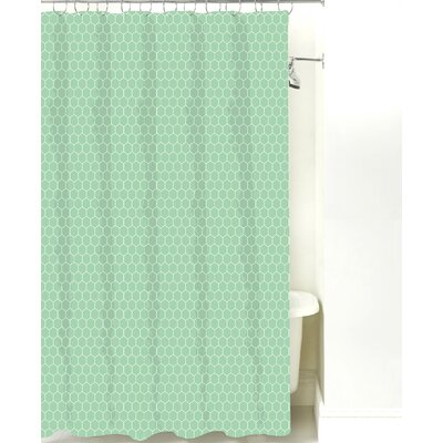 Mosaic Cotton Shower Curtain Color: Sea Mist