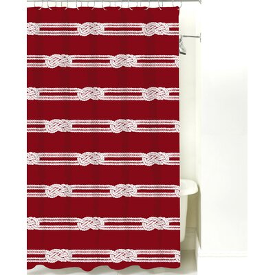 Nautical Ropes Cotton Shower Curtain Color: Red