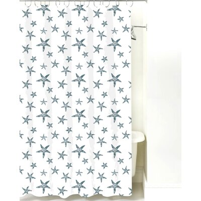 Starfish Cotton Shower Curtain Color: Teal