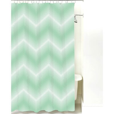 Modern Chevron Cotton Shower Curtain Color: Mint