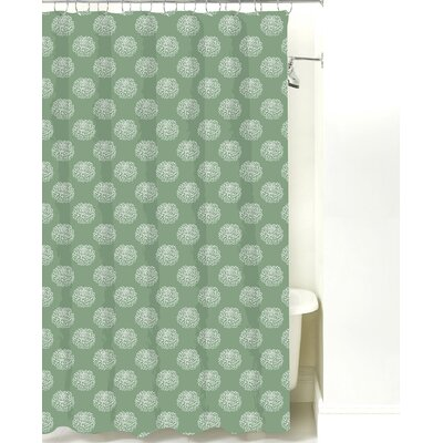 Peony Cotton Shower Curtain Color: Sea Mist