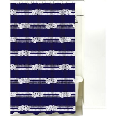 Nautical Ropes Cotton Shower Curtain Color: Navy