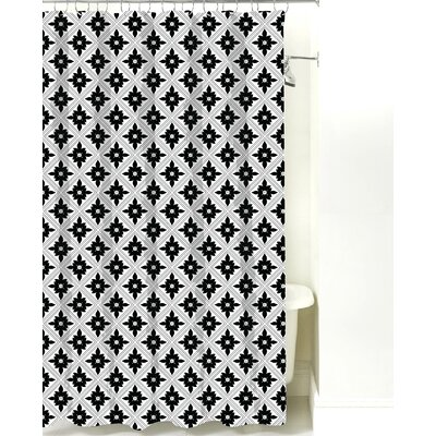 Kaleidoscope Cotton Shower Curtain Color: Black Line