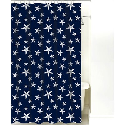 Starfish Cotton Shower Curtain Color: Navy