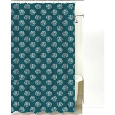 Peony Cotton Shower Curtain Color: Teal