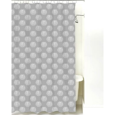 Peony Cotton Shower Curtain Color: Gray