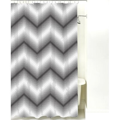 Modern Chevron Cotton Shower Curtain Color: Black