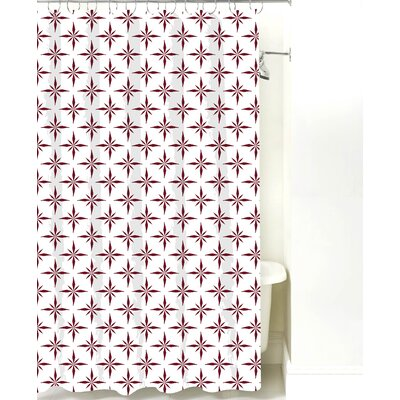 Nautical Compass Cotton Shower Curtain Color: Maroon