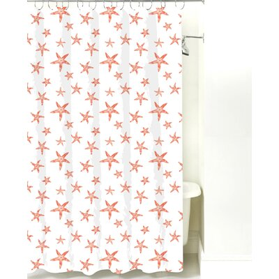 Starfish Cotton Shower Curtain Color: Coral