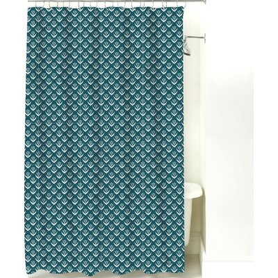 Wild Meadow Cotton Shower Curtain Color: Teal