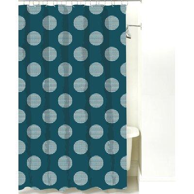 Modern Dot Cotton Shower Curtain Color: Teal