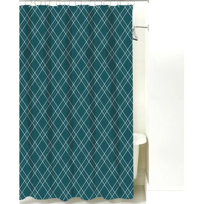 Argyle Cotton Shower Curtain Color: Teal