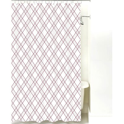 Argyle Cotton Shower Curtain Color: Maroon Line