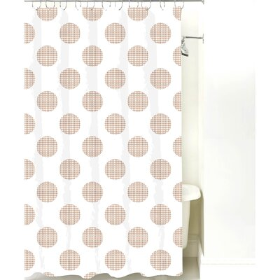 Modern Dot Cotton Shower Curtain Color: Light Brown