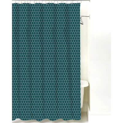Mosaic Cotton Shower Curtain Color: Teal
