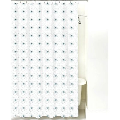 Star Burst Cotton Shower Curtain Color: Teal Dot