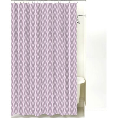 Herringbone Cotton Shower Curtain Color: Lilac