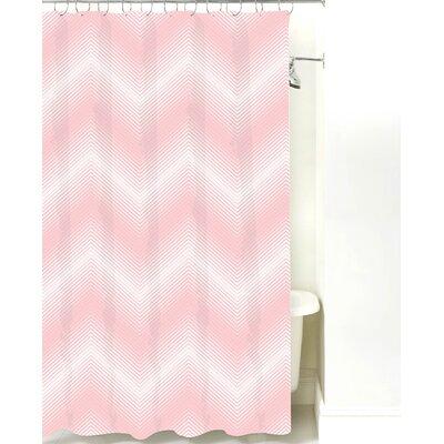 Modern Chevron Cotton Shower Curtain Color: Pink