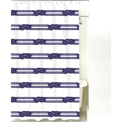 Nautical Ropes Cotton Shower Curtain Color: Navy Rope