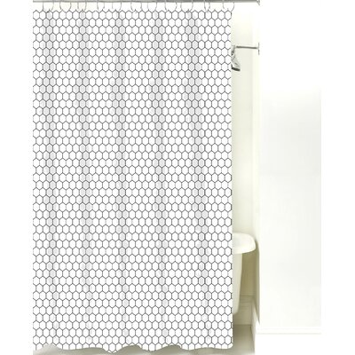 Mosaic Cotton Shower Curtain Color: Black