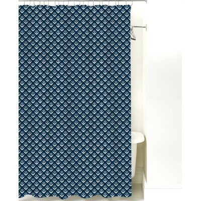 Wild Meadow Cotton Shower Curtain Color: Navy