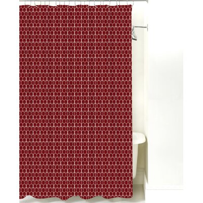 Mosaic Cotton Shower Curtain Color: Maroon