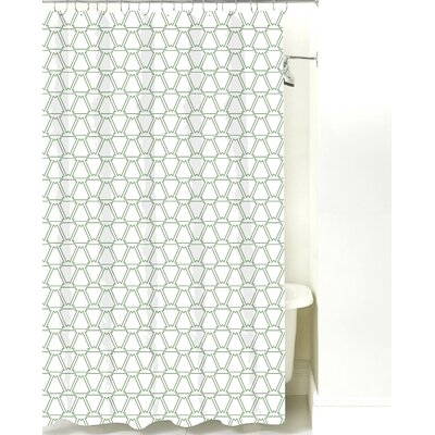 Cotton Shower Curtain Color: Sea Mist Line
