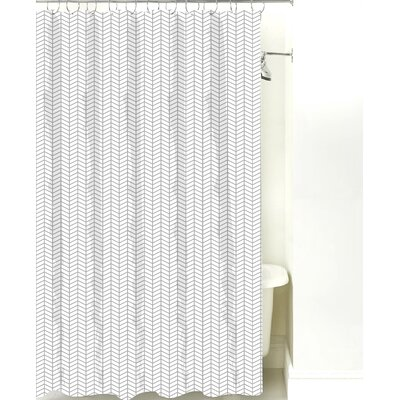 Herringbone Cotton Shower Curtain Color: Gray