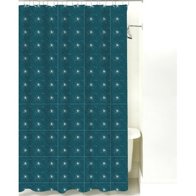 Star Burst Cotton Shower Curtain Color: Teal