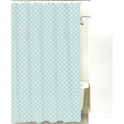 Wild Meadow Cotton Shower Curtain Color: Pale Blue