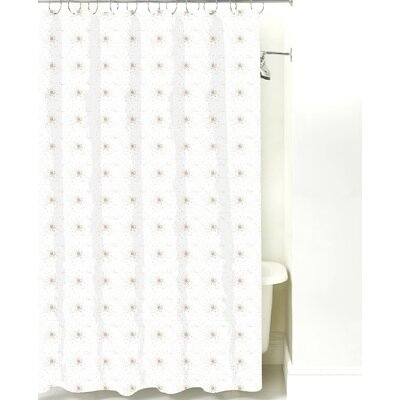 Star Burst Cotton Shower Curtain Color: Light Brown Dot