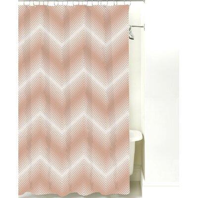 Modern Chevron Cotton Shower Curtain Color: Light Brown Line