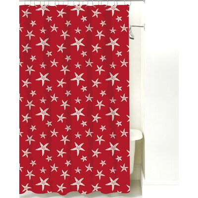 Starfish Cotton Shower Curtain Color: Red Sand