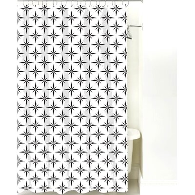 Nautical Compass Cotton Shower Curtain Color: Black Line