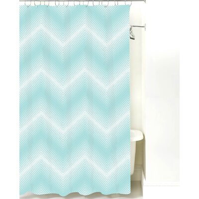 Modern Chevron Cotton Shower Curtain Color: Light Blue