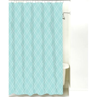 Argyle Cotton Shower Curtain Color: Light Blue