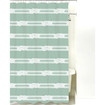 Nautical Ropes Cotton Shower Curtain Color: Pale Blue