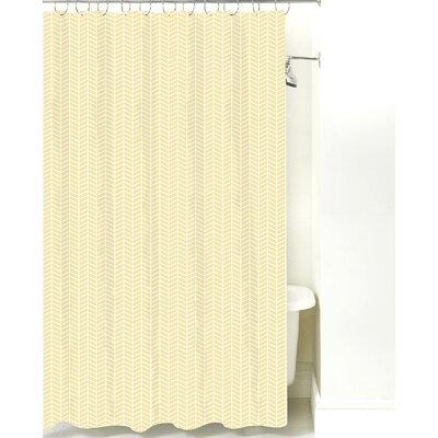 Herringbone Cotton Shower Curtain Color: Pale Yellow