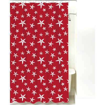Starfish Cotton Shower Curtain Color: Red