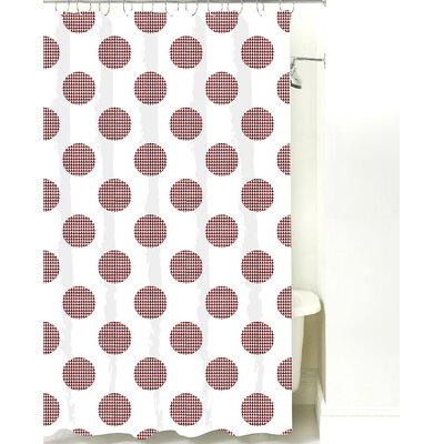 Modern Dot Cotton Shower Curtain Color: Maroon