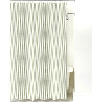 Herringbone Cotton Shower Curtain Color: Sage Line