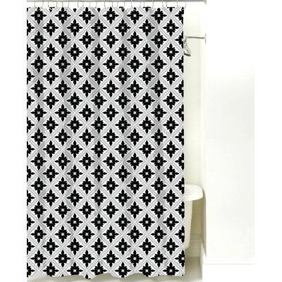 Kaleidoscope Cotton Shower Curtain Color: Black Line