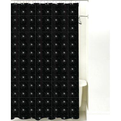Star Burst Cotton Shower Curtain Color: Black