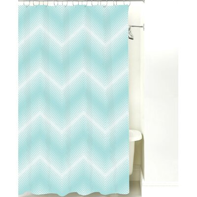 Modern Chevron Cotton Shower Curtain Color: Light Blue